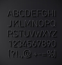 Font thin lines with shadow vector