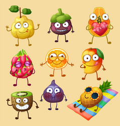 funny fruit character isolated on white background vector image