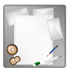 Gears and Wrench on A Blank Page and Envelope vector image