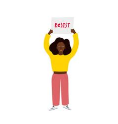 Girl woman resist banner character vector