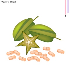 Green Carambolas with Vitamin C on White vector