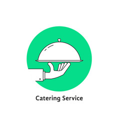 Green linear round catering logo vector