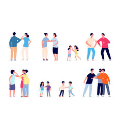greeting bumping elbows physical social distance vector image