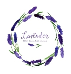 Greeting card with watercolor lavender vector