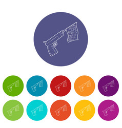 gun with flag toy icon outline style vector image