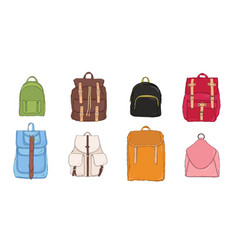 hand drawn colorful realistic backpack set vector image