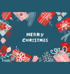 hand drawn merry christmas flat lay new year vector image