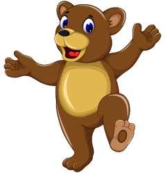 Happy bear cartoon for you design vector
