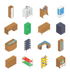 Household furniture isometric pack vector