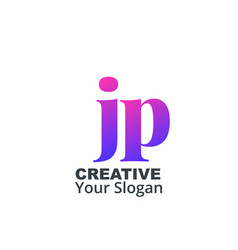 Initial letter jp lowercase design logo template vector