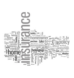 Insurance tips for homeowners and renters vector