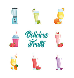 Isolated fruits smoothies icon set design vector