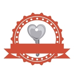 Isolated heart and key of love concept vector