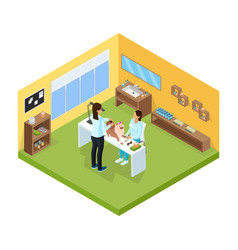 isometric pet grooming salon template vector image