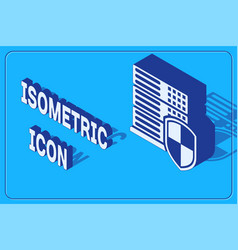 Isometric server with shield icon isolated on blue vector