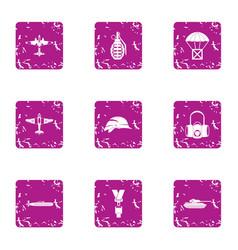 landing icons set grunge style vector image