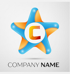 Letter c logo symbol in the colorful star on grey vector