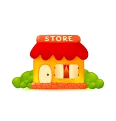 Little cute shop icon in cartoon style vector image