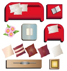 Living room furniture top view set 10 for interior vector