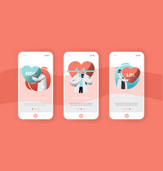 Male and female cardiology doctor mobile app page vector