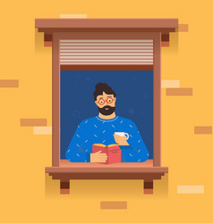 man stay home and read a book vector image