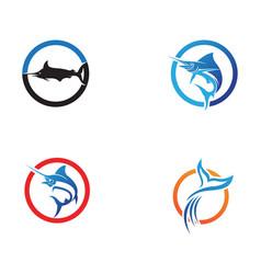 Marlin jump fish logo and symbols icon vector