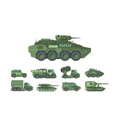 military cars war vehicles flat vector image