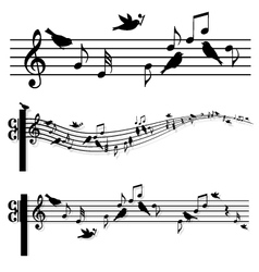 Music notes with birds vector