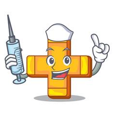 nurse cartoon plus sign logo concept health vector image