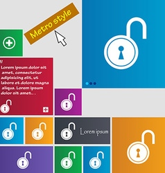 Open lock icon sign buttons modern interface vector