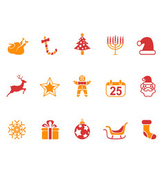 Orange and red color christmas icons set vector