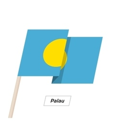 Palau Ribbon Waving Flag Isolated on White vector