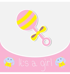 Pink rattle Baby girl shower card vector