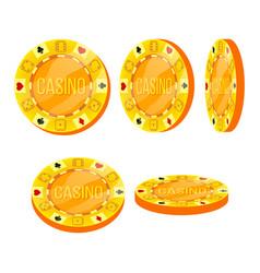 poker chips flat cartoon set casino sign vector image