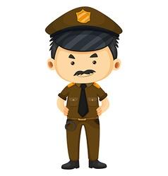 Policeman in brown uniform vector image
