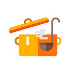 Pot of Soup and Ladle Cooking Concept in Flat vector image