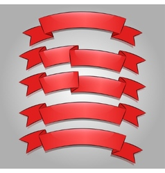 Red banners or ribbons set vector image
