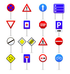 road signs color icons set vector image