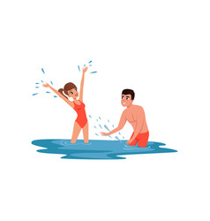 romantic couple having fun in the sea man and vector image