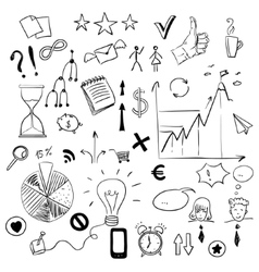 set business doodles elements vector image