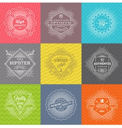 set line signs and emblems with hipster symbols vector image