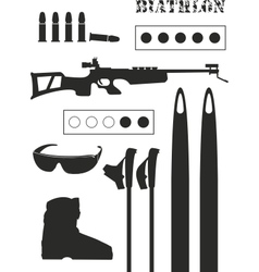 Set of biathlon equipment vector