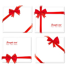 Set of four red bows ribbons vector