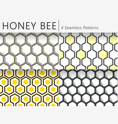 set of four seamless honeycomb patterns vector image