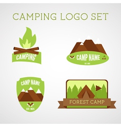 Set of outdoor adventure badges and campsite logo vector
