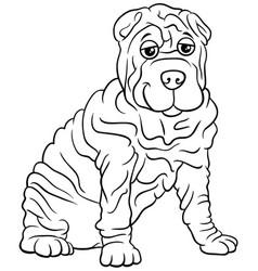 shar pei purebred dog cartoon coloring book page vector image