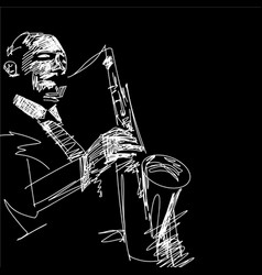 Silhouette saxophone player vector