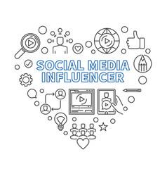Social media influencer outline heart vector