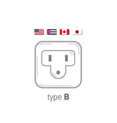 Sockets icon type b ac power sockets realistic vector