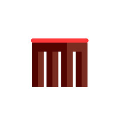 Square wooden small stool with soft seat vector